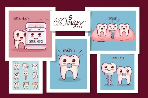 Ícones de saúde dental de cinco cartões
