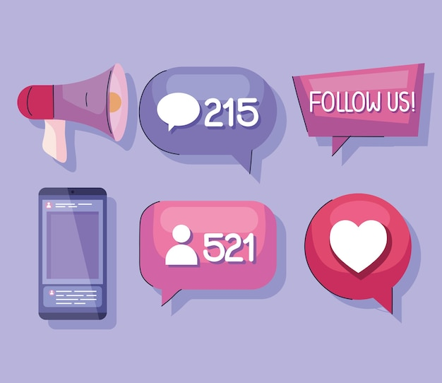 Ícones de seguidores de mídia social