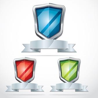 Ícones de segurança do escudo de proteção.