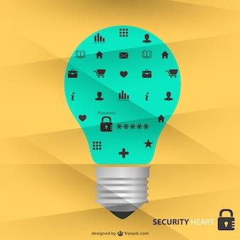 Ícones de segurança luz projeto lâmpada