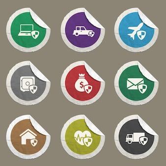 Ícones de seguros definidos para sites e interface do usuário