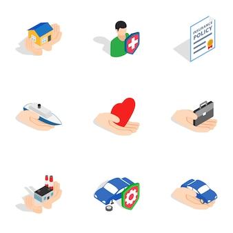 Ícones de seguros, estilo 3d isométrico