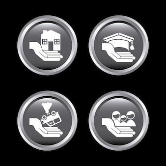 Ícones de seguros sobre preto