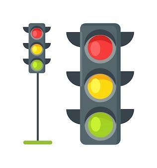 Ícones de semáforos isolados no branco