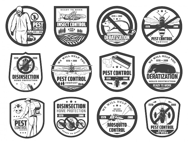 Ícones de serviço de controle de pragas com insetos