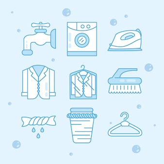 Ícones de serviço de lavanderia