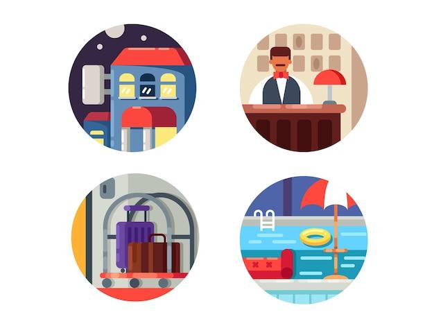 Ícones de serviço do hotel. sala de recepção e piscina. ilustrações vetoriais