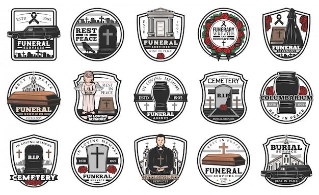 Ícones de serviço funerário e funerário