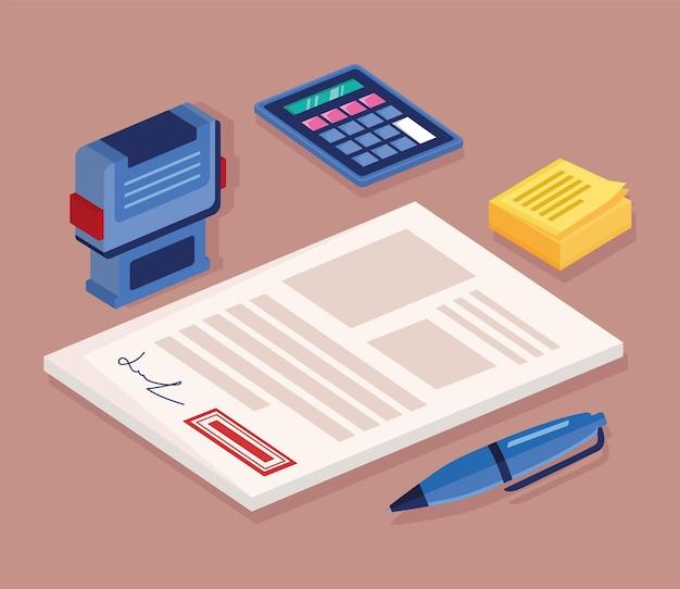 Ícones de serviços de documentos e cartórios