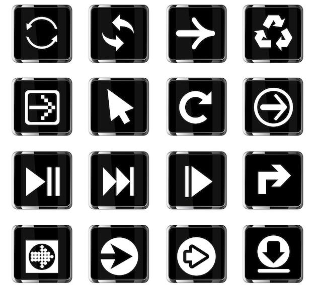 Ícones de seta da web para design de interface de usuário