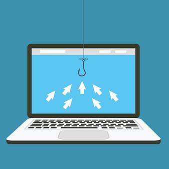 Ícones de seta de computador são como peixes se reunindo para clicar um conceito de isca