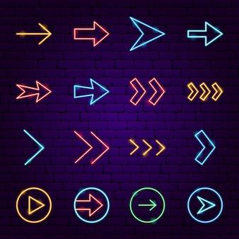 Ícones de seta de néon. ilustração em vetor de promoção de direção.