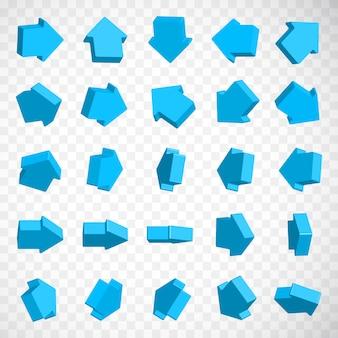 Ícones de seta isométrica 3d com várias perspectivas e direções diferentes