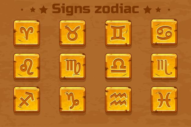 Ícones de signos do zodíaco dourado