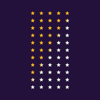 Ícones de símbolo de classificação de estrelas de vetor
