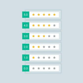 Ícones de símbolo de classificação mínima de estrelas