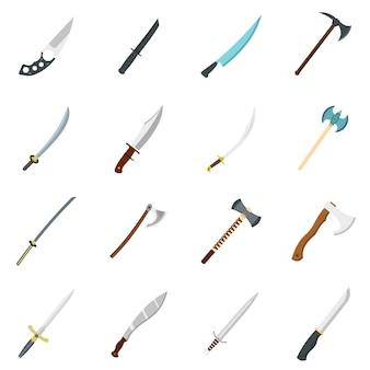 Ícones de símbolos de armas de aço definido em estilo simples