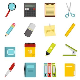 Ícones de símbolos de papelaria definidos em estilo simples