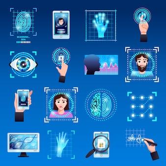 Ícones de símbolos de tecnologias de identificação definidos com sistemas de identificação por reconhecimento de impressão digital de tela de toque isolados