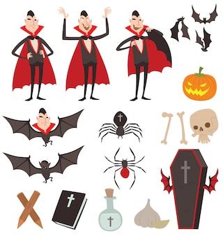 Ícones de símbolos de vetor de drácula dos desenhos animados