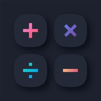 Ícones de símbolos matemáticos