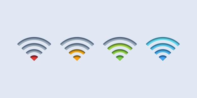 Ícones de sinal wi-fi coloridos