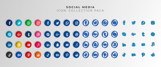 Ícones de sites sociais populares 3d com banners definir ícones gratuitos