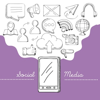 Ícones de smartphone e mídia social