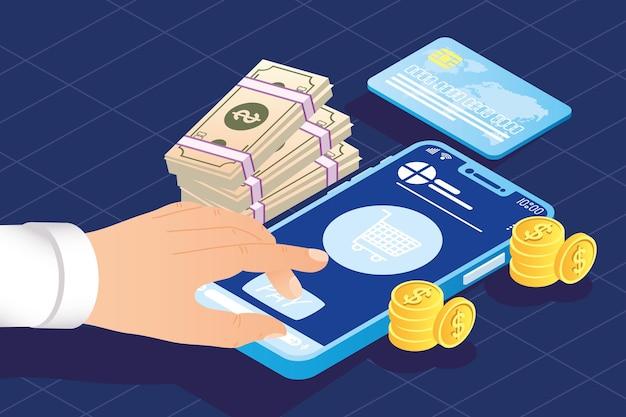 Ícones de smartphone e pagamento online