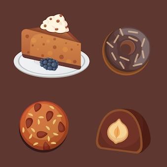 Ícones de sobremesa doce de chocolate. comida orgânica .