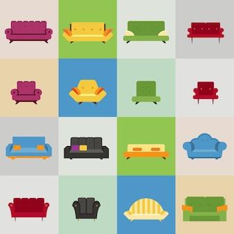 Ícones de sofá e poltrona