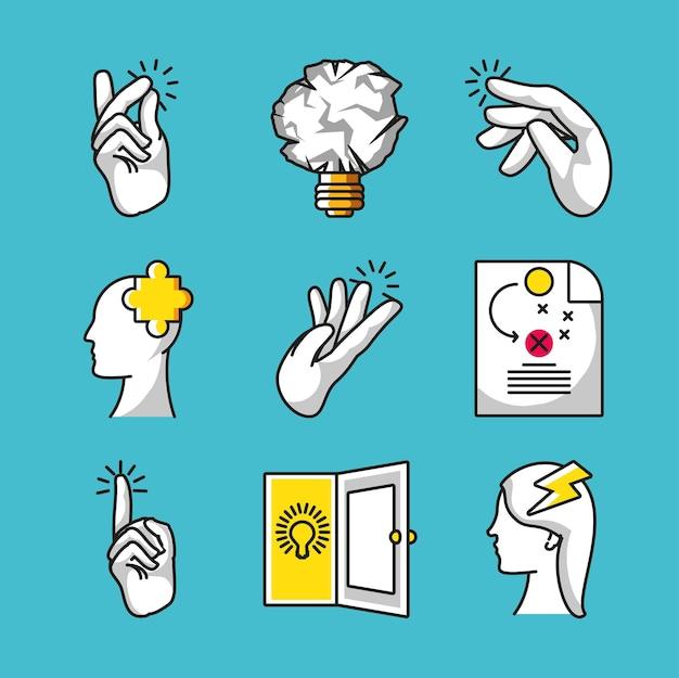 Ícones de soluções criativas para grandes ideias
