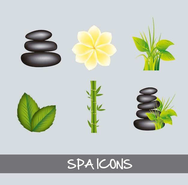 Ícones de spa sobre ilustração vetorial de fundo cinza
