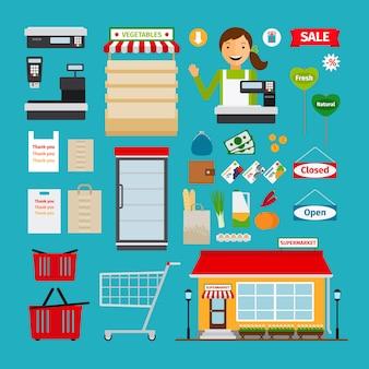 Ícones de supermercado