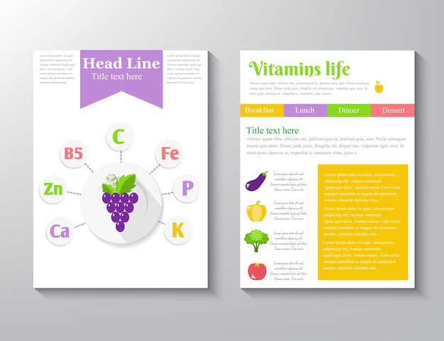 Ícones de suplemento de vitaminas minerais. conjunto de ícones de vetor plana de benefícios de saúde, fundo branco de logotipo de carta de texto isolado.