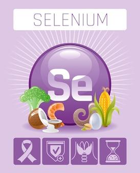 Ícones de suplemento vitamínico mineral selênio se. comida e bebida símbolo de dieta saudável modelo de cartaz infográficos médicos 3d. projeto de benefício plano