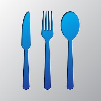 Ícones de talheres são cortados em papel. ilustração.