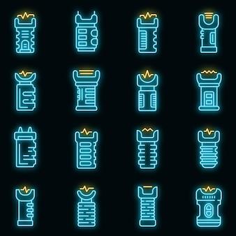 Ícones de taser com néon de vetor