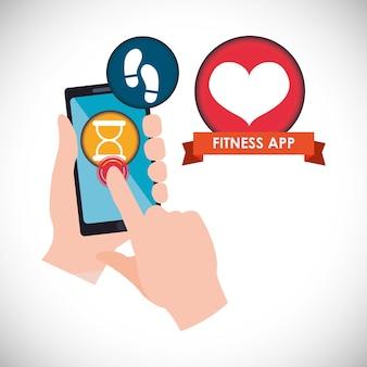 Ícones de tecnologia de app de fitness