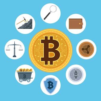 Ícones de tecnologia de bitcoin e dinheiro cibernético em torno do design de ilustração vetorial