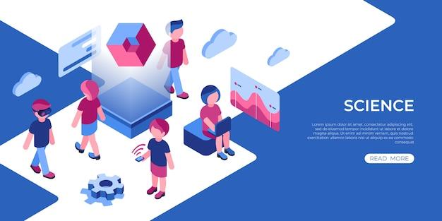 Ícones de tecnologia de ciência de realidade virtual com pessoas