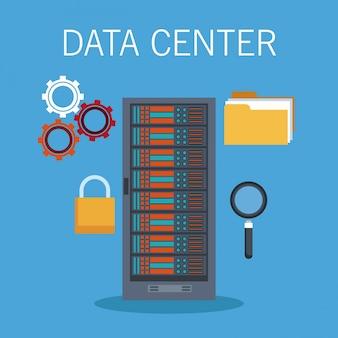 Ícones de tecnologia de data center