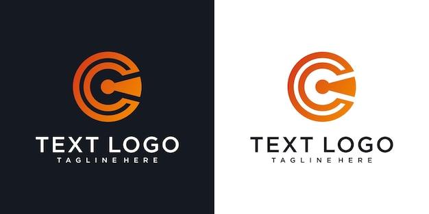 Ícones de tecnologia de design de logotipo abstrato letra c inicial para negócios de gradiente de luxo