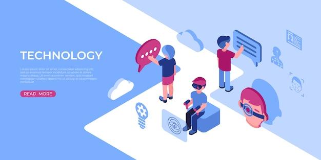 Ícones de tecnologia de realidade virtual com pessoas