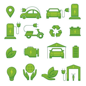 Ícones de tecnologia eco verde vetor carro elétrico para ilustração de veículo auto transporte