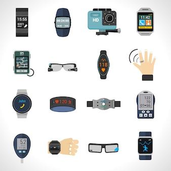 Ícones de tecnologia wearable