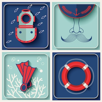 Ícones de tema marinho de vetor