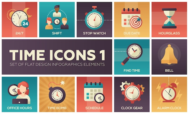 Ícones de tempo - conjunto moderno de elementos de infográficos de design plano. imagens coloridas de turno, cronômetro, data de vencimento, ampulheta, encontrar hora, sino, horário de expediente, bomba-relógio, programação, engrenagem do relógio, alarme