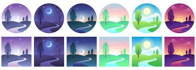 Ícones de tempo da paisagem.
