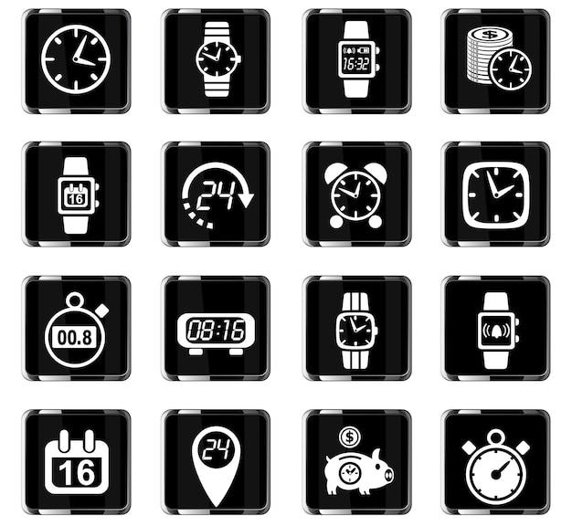 Ícones de tempo da web para design de interface de usuário Vetor Premium